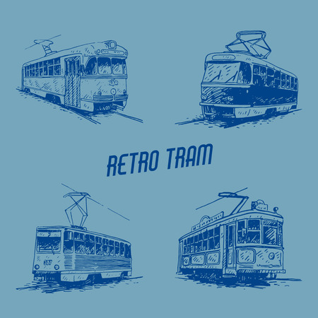 tramcar: Set of retro trams. Picture of vintage transport. Old times. Vector hand drawn sketch.