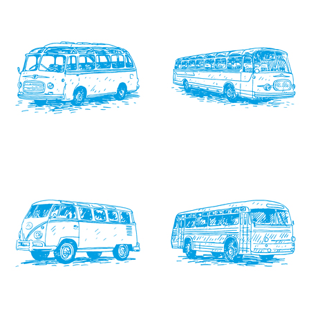 old times: Set of vintage buses. Retro transport. Old times. Vector hand drawn sketch. Illustration
