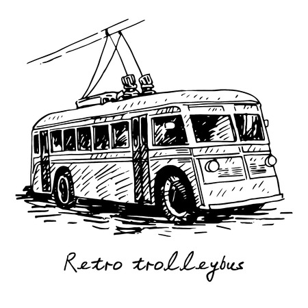 trolleybus: 50th, city, drawing, driver, electric, engine, europe, freehand, history, illustration, line, monochrome, motor, old, outline, passenger, pencil, public, retro, road, sketch, street, stroke, town, transport, travel, trip, trolley, trolleybus, unique, urba