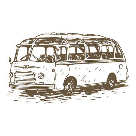 oldtimer: Retro bus. Picture of vintage transport. Old times. Vector hand drawn sketch.