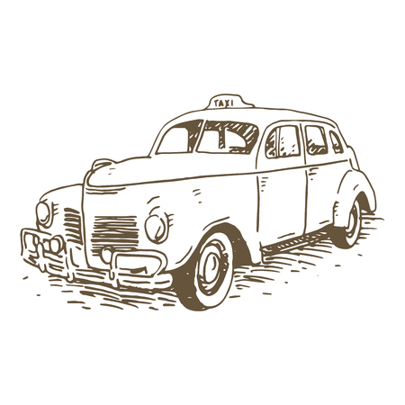 old times: Retro taxi. Vintage transport. Old times. Vector hand drawn sketch. Illustration