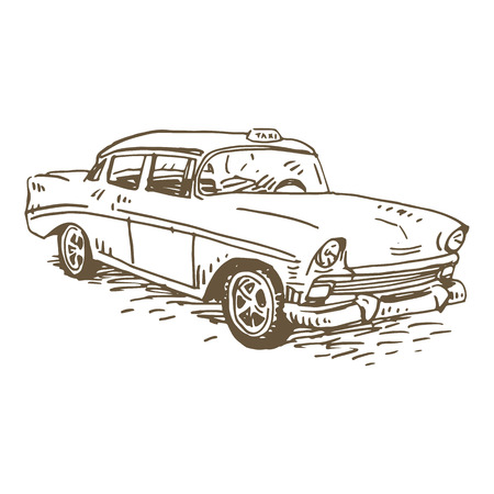 tariff: Retro taxi. Vintage transport. Old times. Vector hand drawn sketch. Illustration