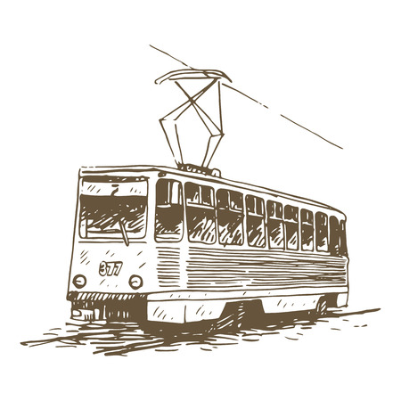 tramcar: Retro tram. Picture of vintage transport. Old times. Vector hand drawn sketch.