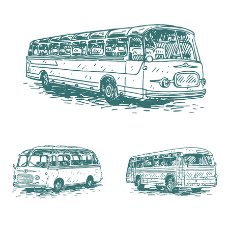 Set of vintage buses. Retro transport. Old times. Vector hand drawn sketch. 矢量图像