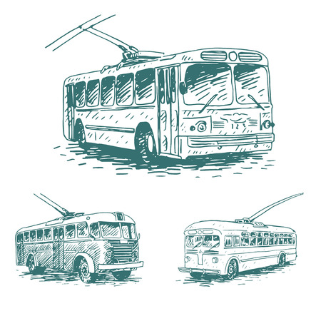 old times: Set of vintage trolleybuses. Retro transport. Old times. Vector hand drawn sketch.