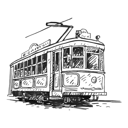 Retro tram. Picture of vintage transport. Old times. Vector hand drawn sketch.
