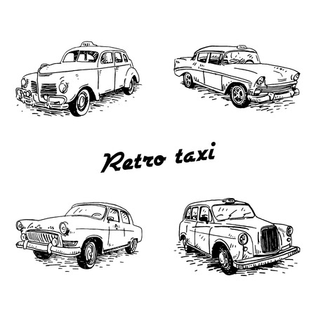 old times: Set of vintage taxi. Retro transport. Old times. Vector hand drawn sketch.