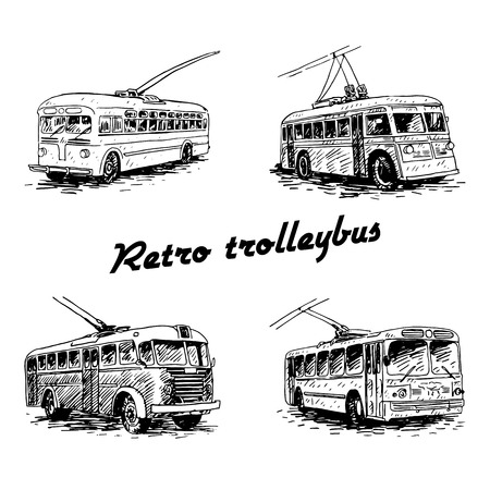 old times: Set of retro trolleybuses. Picture of vintage transport. Old times. Vector hand drawn sketch. Illustration