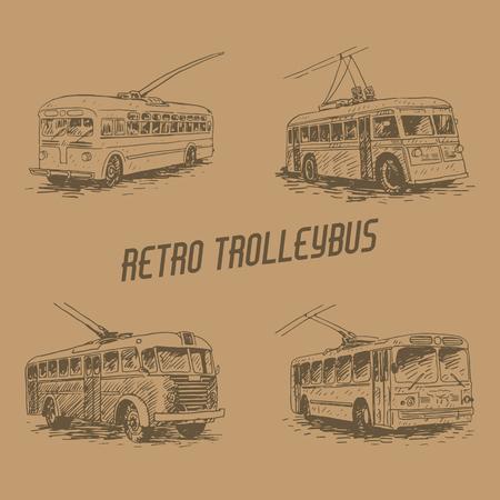Set of retro trolleybuses. Picture of vintage transport. Old times. Vector hand drawn sketch. Vektoros illusztráció