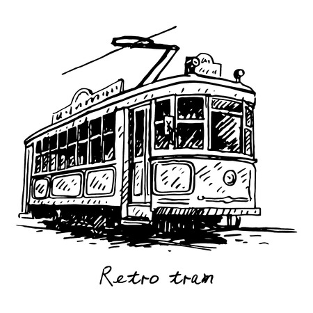 tramcar: Retro tram. Picture of old transport. Vector hand drawn sketch.