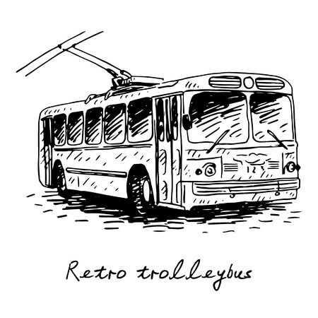 trolleybus: Retro trolleybus. Picture of vintage transport. Old times. Vector hand drawn sketch.