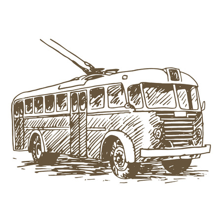 Retro trolleybus. Picture of vintage transport. Old times. Vector hand drawn sketch.