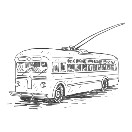old times: Retro trolleybus. Picture of vintage transport. Old times. Vector hand drawn sketch.