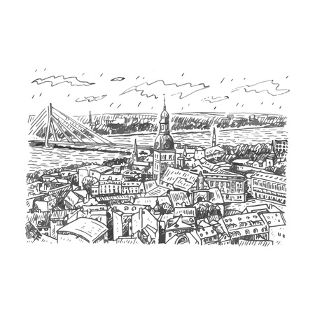 steeple: The panorama view of Riga, Latvia. Vector freehand pencil sketch.