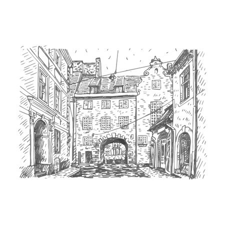 Old city of Riga, Latvia. Vector freehand pencil sketch.