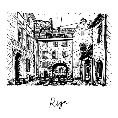 Altstadt von Riga, Lettland. Vector Freihand Bleistiftskizze.