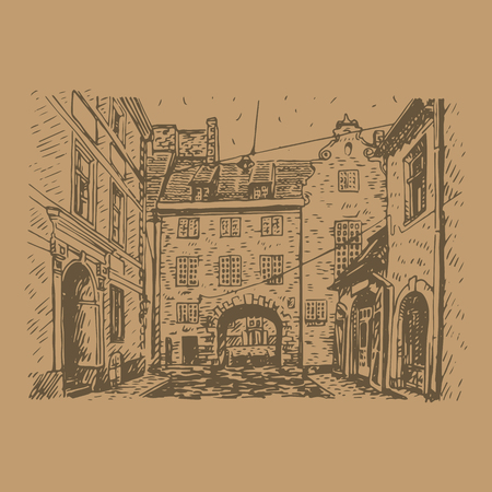 old city: Old city of Riga, Latvia. Vector freehand pencil sketch.