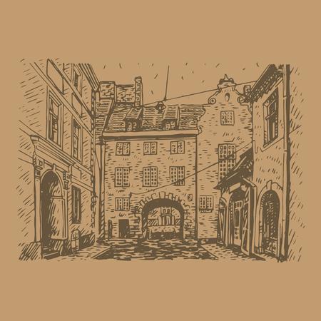 Oude stad van Riga, Letland. Vector uit de vrije hand potloodschets. Vector Illustratie