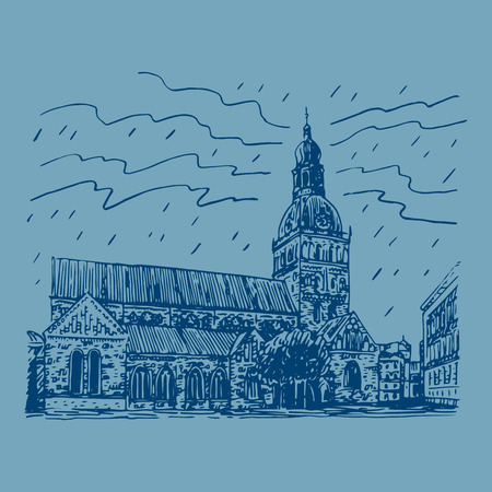 evangelical: The Evangelical Lutheran cathedral in Riga, Latvia. Vector freehand pencil sketch. Illustration