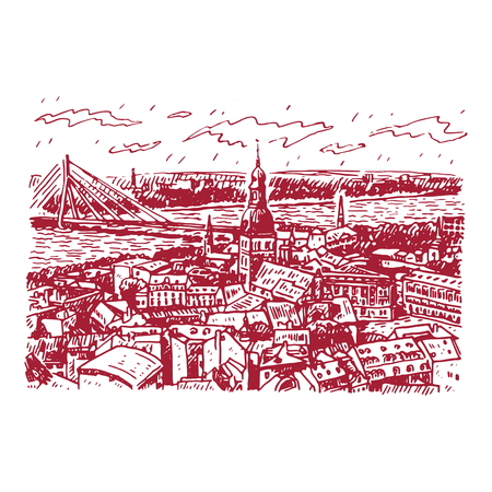 panorama view: The panorama view of Riga, Latvia. Vector freehand pencil sketch.