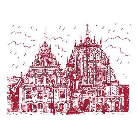 brotherhood: The historic House of the Blackheads and statue of Saint Roland in the old town of Riga, Latvia. Vector freehand pencil sketch.
