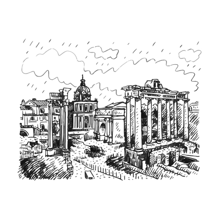 Roman Forum in Rome, Italy. Vector hand drawn sketch.