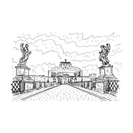 italian culture: Saint Angel Castle and bridge over the Tiber river in Rome, Italy. Vector hand drawn sketch.