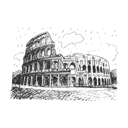 Colosseum in Rome, Italy. Vector hand drawn sketch. Stock Illustratie