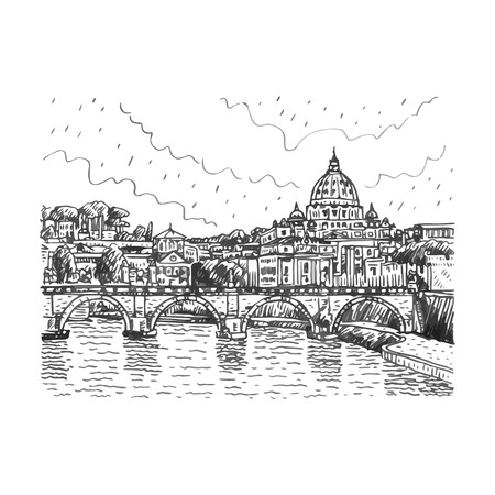 View at Tiber and St. Peter's cathedral in Rome, Italy. Vector hand drawn sketch. Ilustração