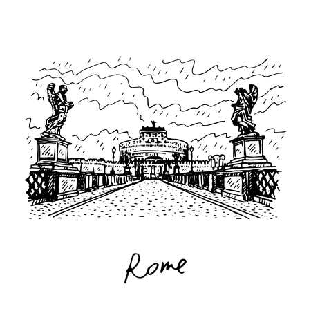 vatican city: Saint Angel Castle and bridge over the Tiber river in Rome, Italy. Vector hand drawn sketch.