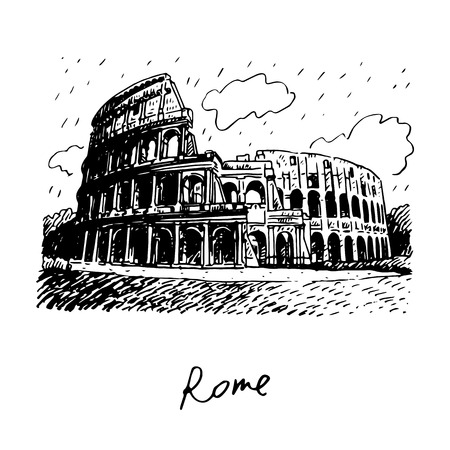 colosseo: Colosseum in Rome, Italy. Vector hand drawn sketch. Illustration