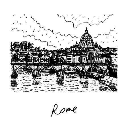 pencil drawings: View at Tiber and St. Peters cathedral in Rome, Italy. Vector hand drawn sketch.