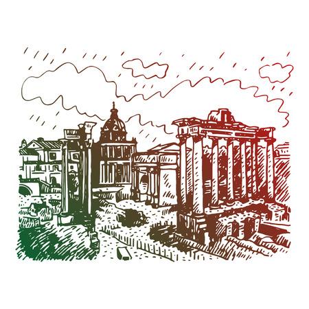 roman empire: Roman Forum in Rome, Italy. Vector hand drawn sketch. Illustration