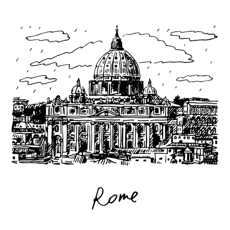 basilica: St. Peters basilica in Vatican, Rome, Italy. Vector hand drawn sketch.