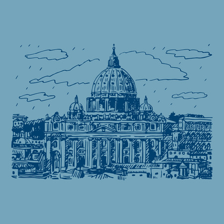 old church: St. Peters basilica in Vatican, Rome, Italy. Vector hand drawn sketch.