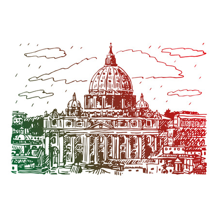 St. Peters basilica in Vatican, Rome, Italy. Vector hand drawn sketch.