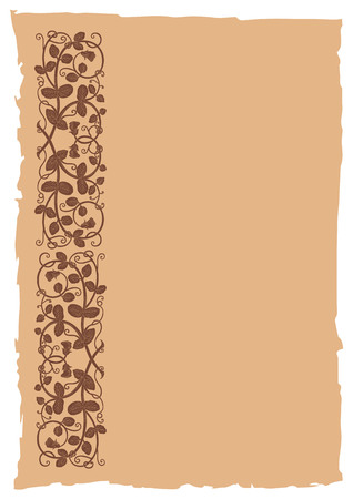 old page: Old page in a medieval style with floral ornament of interwoven stems, foliage and flowers. Vector edging, design element and page decoration. Place for text. Vector retro background