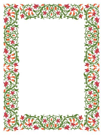 Blumenfeld im mittelalterlichen Stil. Ornament aus verflochtenen Stengeln, Blätter und Blüten. Vector Seite Dekoration
