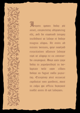 catchword: Old page in a medieval style with floral ornament of interwoven stems, foliage and flowers. Vector edging, design element and page decoration. Place for text. Vector retro background