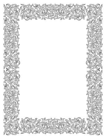 Bloemen frame in middeleeuwse stijl. Ornament van verweven stengels, bladeren en bloemen. Vector pagina decoratie
