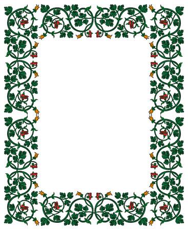 Marco floral en estilo medieval. Ornamento del entretejido tallos, hojas y flores. decoración de la página vectorial