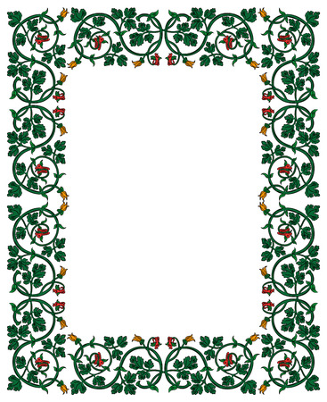Floral frame in medieval style. Ornament of interwoven stems, foliage and flowers. Vector page decoration