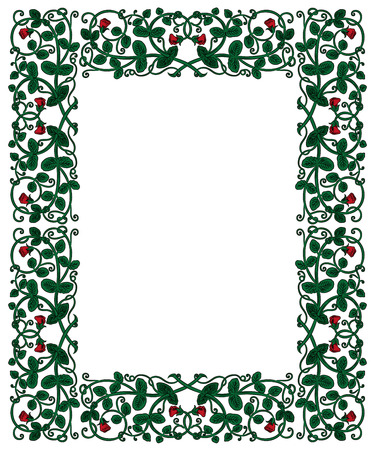 folio: Floral frame in medieval style. Ornament of interwoven stems, foliage and flowers. Vector page decoration