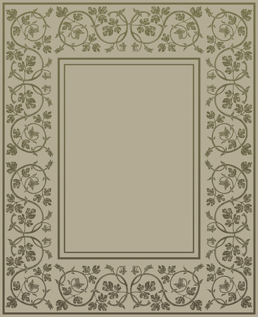 floral decoration: Gold floral frame in medieval style. Ornament of interwoven stems, foliage and flowers. Vector page decoration
