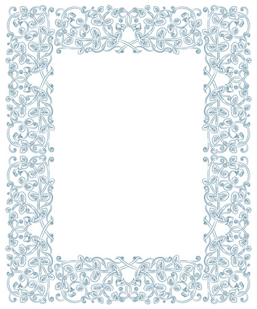 flower age: Floral frame in medieval style. Ornament of interwoven stems, foliage and flowers. Vector page decoration