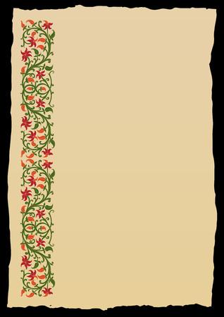 Bloemen frame in middeleeuwse stijl. Ornament van verweven stengels, bladeren en bloemen. Vector rand, design element en pagina decoratie