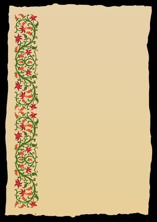 Floral frame in medieval style. Ornament of interwoven stems, foliage and flowers. Vector edging, design element and page decoration Stock fotó - 52703665