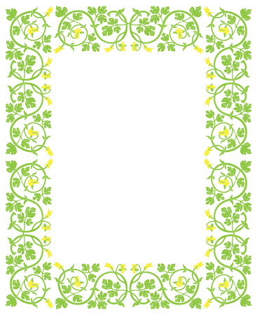folio: Floral frame in medieval style. Ornament of interwoven stems, foliage and flowers. Vector edging, design element and page decoration