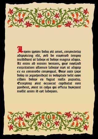 página del libro plantilla en un estilo medieval. El lugar de texto. Marco floral del entretejido tallos, hojas y flores. ribete vector, elemento de diseño y decoración de página. Vector de fondo retro Ilustración de vector