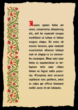 page de livre modèle dans un style médiéval. Placez pour le texte. Floral frame de entrelacées tiges, feuillage et de fleurs. Vector bordure, élément de design et de décoration de page. Vector retro fond